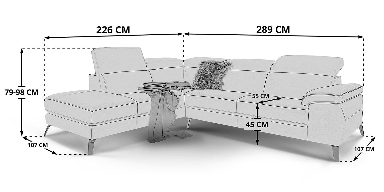 Moebella24 - Ecksofa - Gusti - Skizze - Maße - Leder - Spiegelverkehrt - Verstellbare - Kopfstützen -