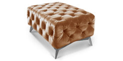Chesterfield Hocker Samt gold 100x60 Emma