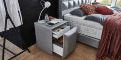 Moebella24 - Nachttisch Magic-Media - mit Push to open Schublade - shiney grau silber seitlich geöffnet Milieu Bild