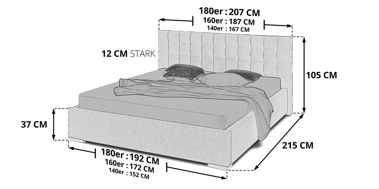 Polsterbett mit Bettkasten Jimmy skizze