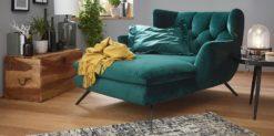 3C Candy - Longseat - Sessel - Smaragd - Velour - Ohrensessel - Steppung - Edelstahl - Füße - Von vorne rechts