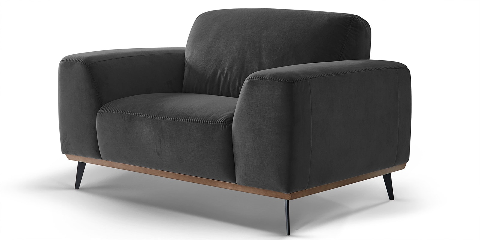 Moebella24 - 1-Sitzer - Sofa - Sessel - Barcelona - Samt - Anthrazit - Skandinavisches - Design - Punto - cavallo - Nähte - Detailaufnahme