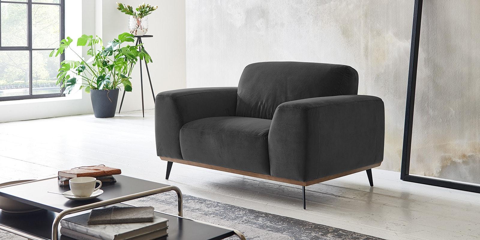 Moebella24 - 1-Sitzer - Sofa - Sessel - Barcelona - Samt - Anthrazit - Skandinavisches - Design - Punto - cavallo - Nähte
