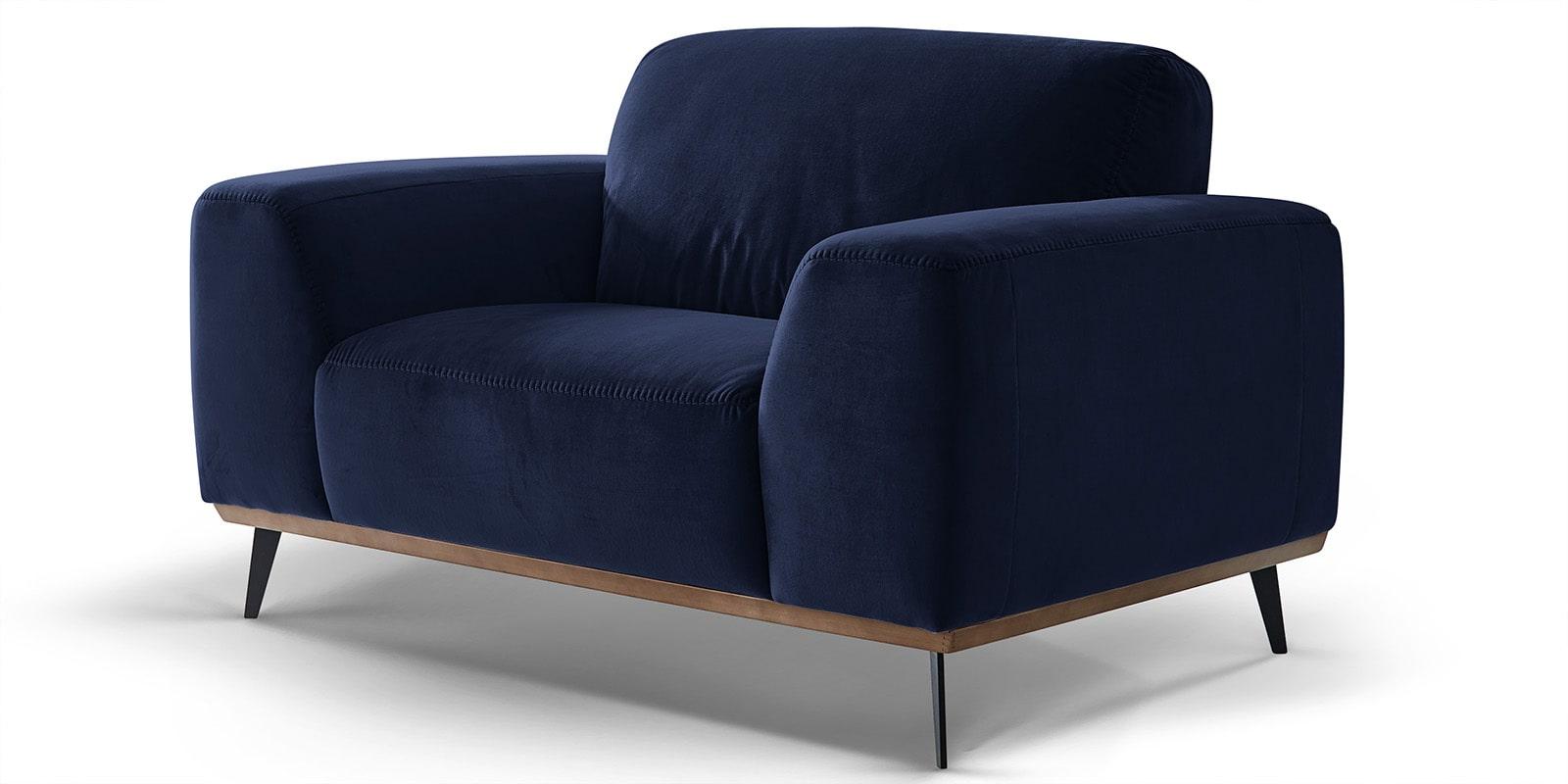 Moebella24 - 1-Sitzer - Sofa - Sessel - Barcelona - Samt - Dunkelblau - Skandinavisches - Design - Punto - cavallo - Nähte - Detailaufnahme