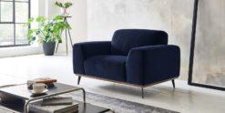 Moebella24 - 1-Sitzer - Sofa - Sessel - Barcelona - Samt - Dunkelblau - Skandinavisches - Design - Punto - cavallo - Nähte