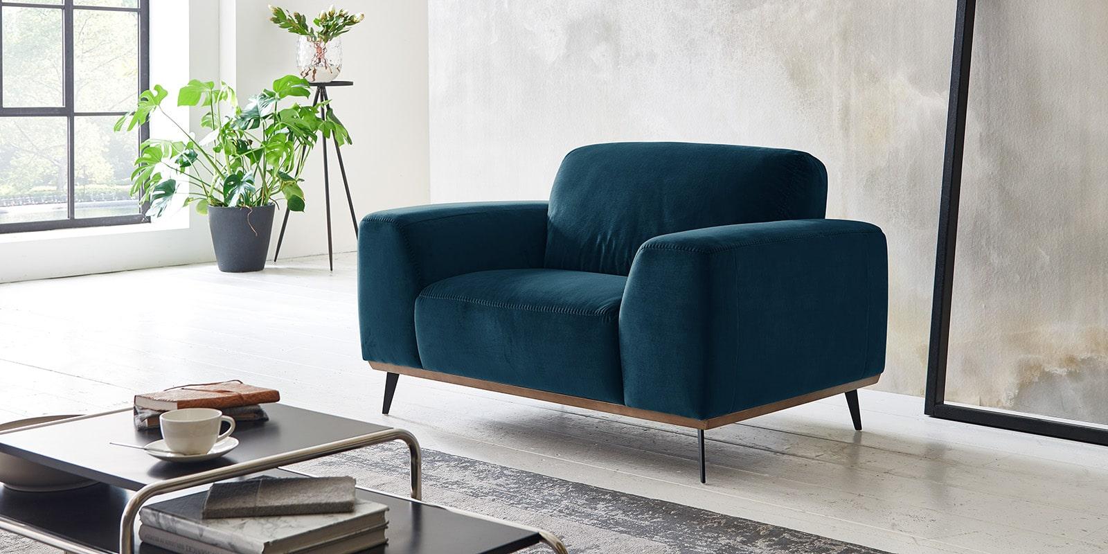 Moebella24 - 1-Sitzer - Sofa - Sessel - Barcelona - Samt - Türkis - Skandinavisches - Design - Punto - cavallo - Nähte