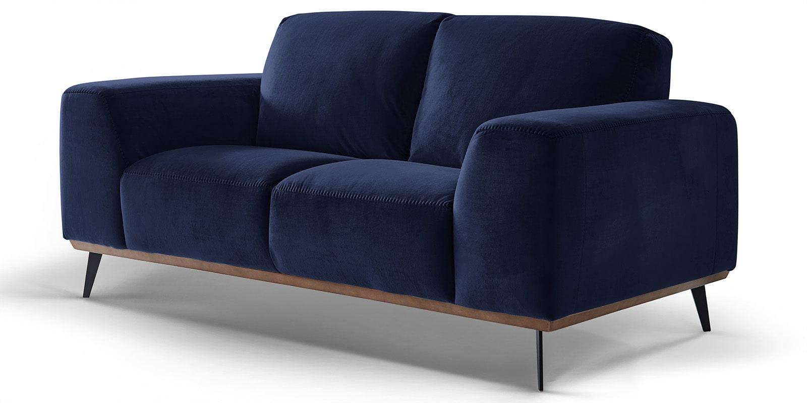 Moebella24 - 2-Sitzer - Sofa - Barcelona - Samt - Dunkelblau - Skandinavisches - Design - Punto - cavallo - Nähte - Detailaufnahme