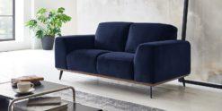 Moebella24 - 2-Sitzer - Sofa - Barcelona - Samt - Dunkelblau - Skandinavisches - Design - Punto - cavallo - Nähte