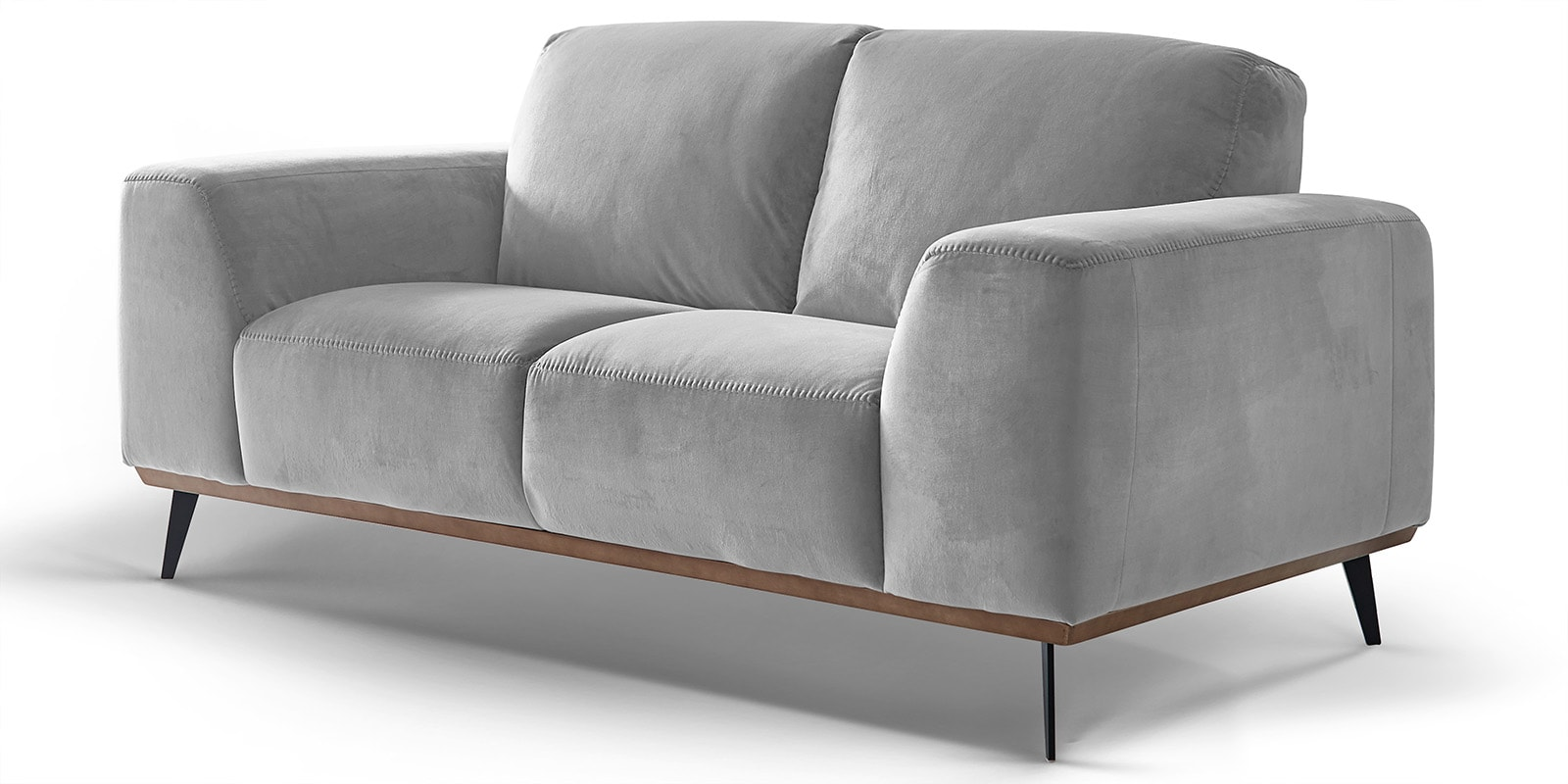 Moebella24 - 2-Sitzer - Sofa - Barcelona - Samt - Grau - Skandinavisches - Design - Punto - cavallo - Nähte - Detailaufnahme