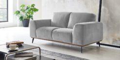 Moebella24 - 2-Sitzer - Sofa - Barcelona - Samt - Grau - Skandinavisches - Design - Punto - cavallo - Nähte
