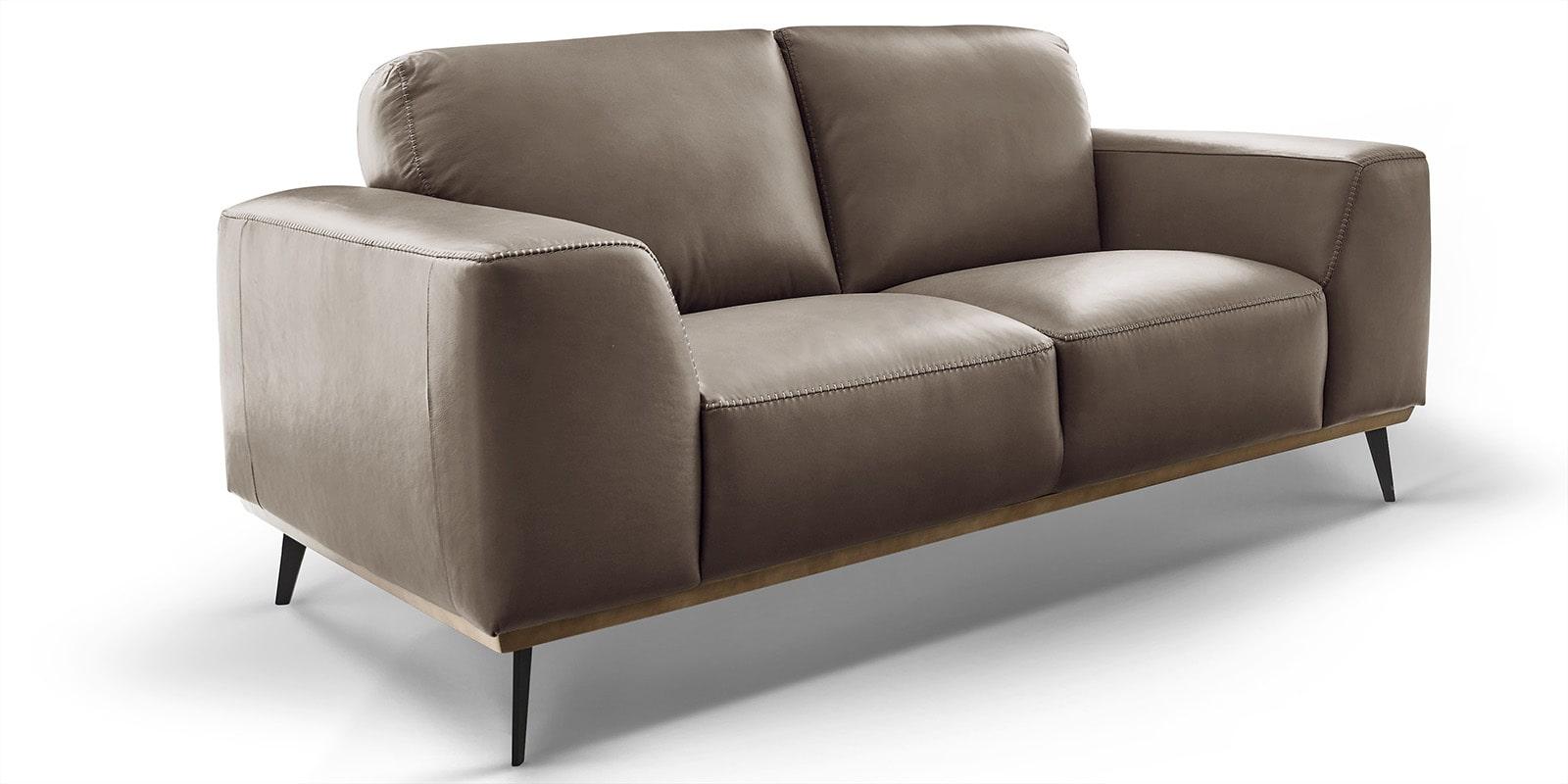 Moebella24 - 2-Sitzer - Sofa - Barcelona - Leder - Taupe - Skandinavisches - Design - Punto - cavallo - Nähte - Detailaufnahme