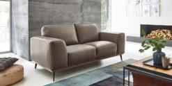 Moebella24 - 2-Sitzer - Sofa - Barcelona - Leder - Taupe - Skandinavisches - Design - Punto - cavallo - Nähte