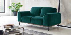 Moebella24 - 2-Sitzer - Sofa - Barcelona - Samt - Petrol - Skandinavisches - Design - Punto - cavallo - Nähte