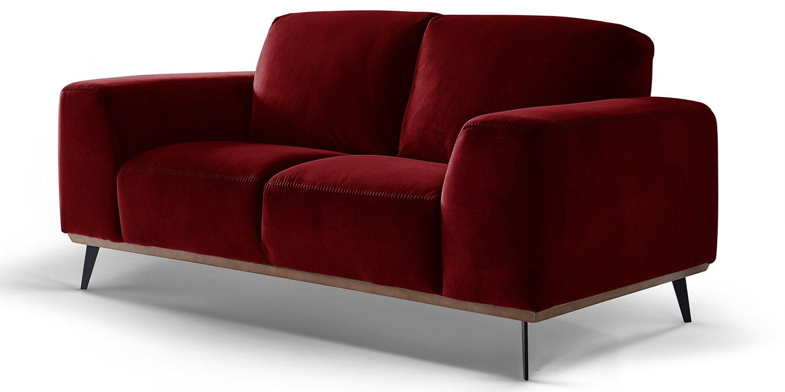 Moebella24 - 2-Sitzer - Sofa - Barcelona - Samt - Rot - Skandinavisches - Design - Punto - cavallo - Nähte - Detailaufnahme