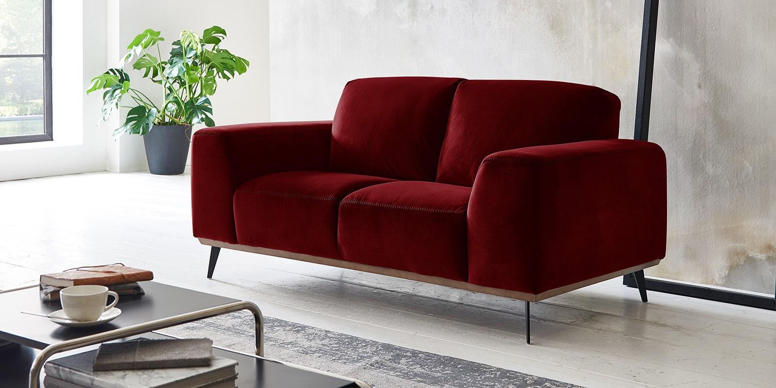 Moebella24 - 2-Sitzer - Sofa - Barcelona - Samt - Rot - Skandinavisches - Design - Punto - cavallo - Nähte