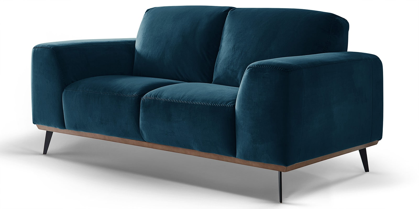 Moebella24 - 2-Sitzer - Sofa - Barcelona - Samt - Türkis - Skandinavisches - Design - Punto - cavallo - Nähte - Detailaufnahme