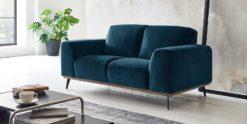 Moebella24 - 2-Sitzer - Sofa - Barcelona - Samt - Türkis - Skandinavisches - Design - Punto - cavallo - Nähte