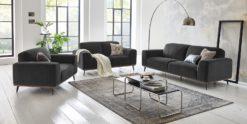 Moebella24 - 3-2-1-Sitzer - Sofa - Barcelona - Samt - Anthrazit - Skandinavisches - Design - Punto - cavallo - Nähte