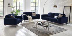Moebella24 - 3-2-1-Sitzer - Sofa - Barcelona - Samt - Dunkelblau - Skandinavisches - Design - Punto - cavallo - Nähte