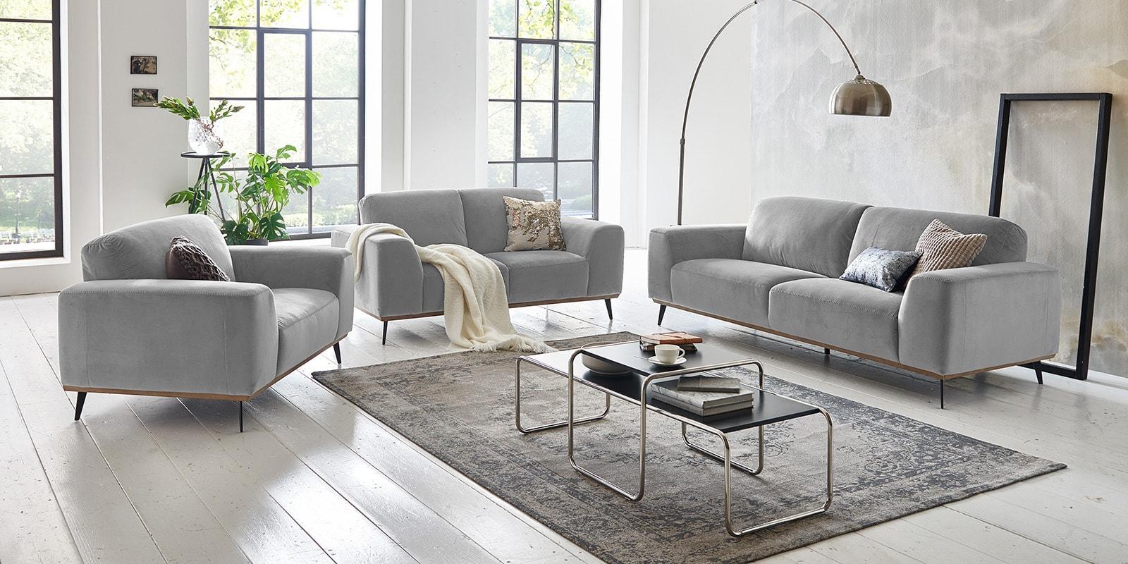 Moebella24 - 3-2-1-Sitzer - Sofa - Barcelona - Samt - Grau - Skandinavisches - Design - Punto - cavallo - Nähte