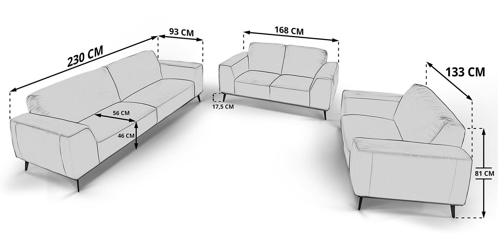 Moebella24 - 3-2-1-Sitzer - Sofa - Barcelona - Skizze - Maße - Samt - Skandinavisches - Design - Punto - cavallo - Nähte