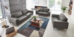 Moebella24 - 3-2-1-Sitzer - Sofa - Barcelona - Leder - Grau - Skandinavisches - Design - Punto - cavallo - Nähte