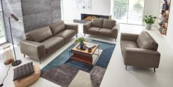 Moebella24 - 3-2-1-Sitzer - Sofa - Barcelona - Leder - taupe - Skandinavisches - Design - Punto - cavallo - Nähte