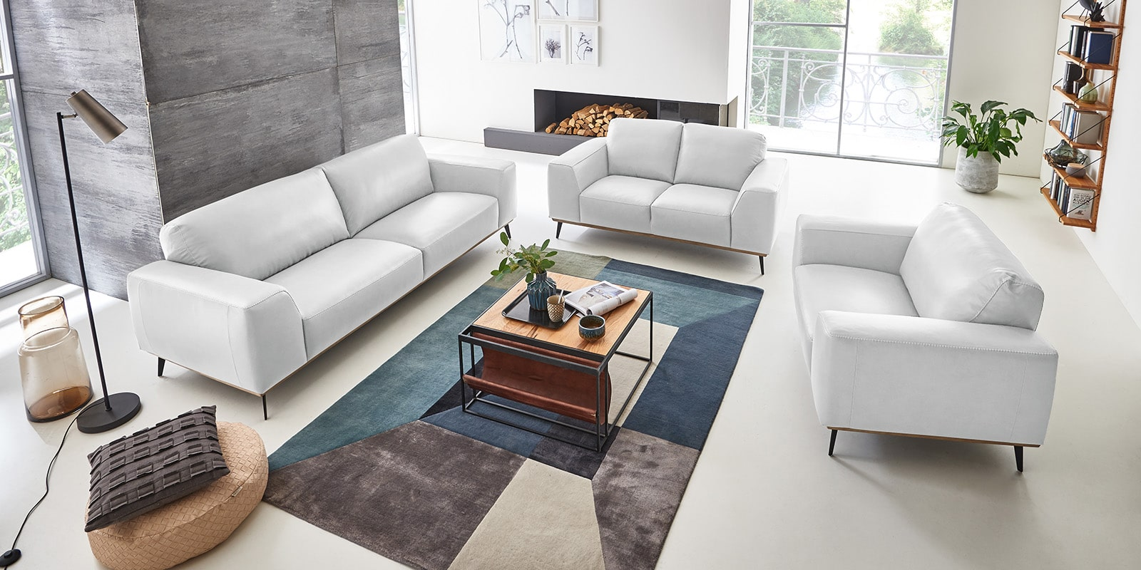 Moebella24 - 3-2-1-Sitzer - Sofa - Barcelona - Leder - Weiß - Skandinavisches - Design - Punto - cavallo - Nähte