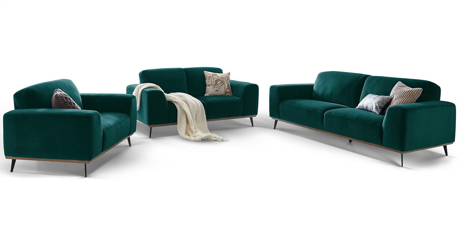 Moebella24 - 3-2-1-Sitzer - Sofa - Barcelona - Samt - Petrol - Skandinavisches - Design - Punto - cavallo - Nähte