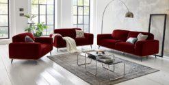 Moebella24 - 3-2-1-Sitzer - Sofa - Barcelona - Samt - Rot - Skandinavisches - Design - Punto - cavallo - Nähte