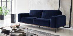Moebella24 - 3-Sitzer - Sofa - Barcelona - Samt - Dunkelblau - Skandinavisches - Design - Punto - cavallo - Nähte