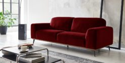 Moebella24 - 3-Sitzer - Sofa - Barcelona - Samt - Rot - Skandinavisches - Design - Punto - cavallo - Nähte