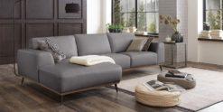 Moebella24 - Ecksofa - Leder - Hellgrau - Barcelona - Ledercouch - mit - Ottomane - Skandinavisches-Design