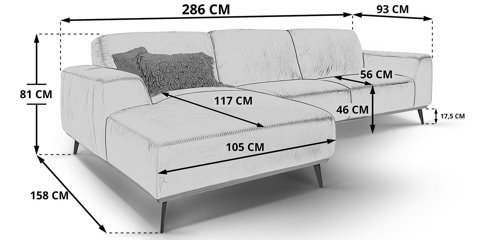 Moebella24 - Ecksofa - mit - Ottomane - Skizze - Maße - Skandinavisches - Design